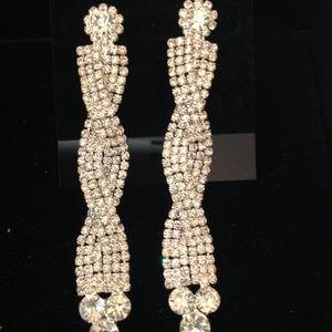 Rhinestone Criss Cross Earrings
